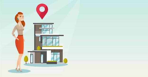 Corretor de imóveis na casa ao ar livre com o ponteiro do mapa. Vetor Premium