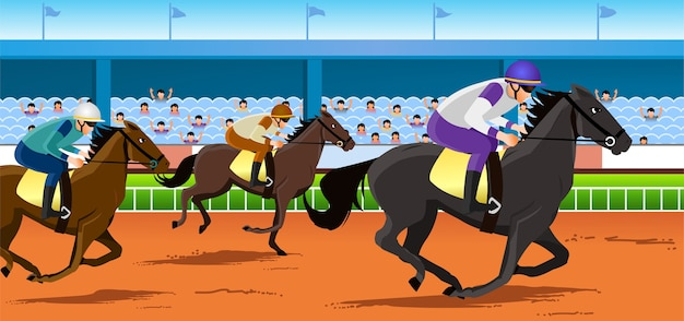 Corrida de cavalos Vetor Premium