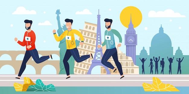 Corrida de maratona do mundo concorrência flat cartoon Vetor Premium