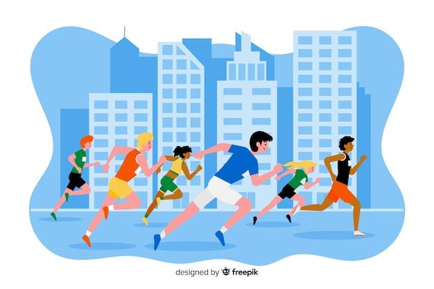 Corrida de maratona Vetor grátis