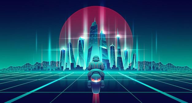 Corrida de motos no vetor de desenhos animados do mundo virtual Vetor grátis