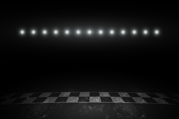 Corrida de pista de corrida de corrida na noite Vetor Premium