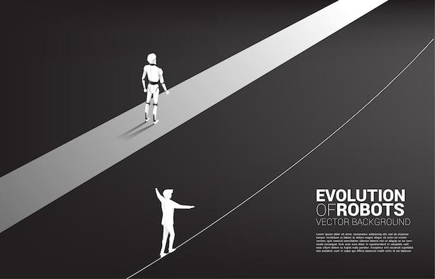 Corridas não justas de humanos e robôs. Vetor Premium