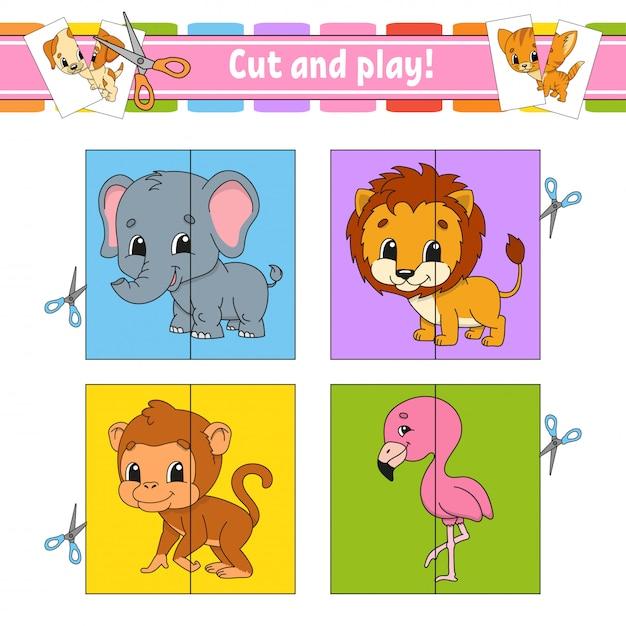 Cortar e brincar. cartões flash. quebra-cabeça de cores. planilha de desenvolvimento da educação Vetor Premium