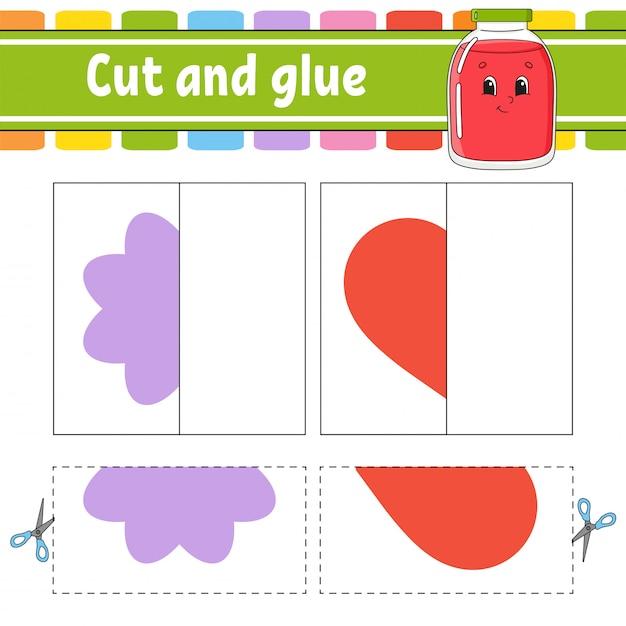 Cortar e brincar. jogo de papel com cola. cartões flash. quebra-cabeça de cores. planilha de desenvolvimento de educação. Vetor Premium