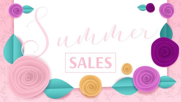 Cortar papel floral banner verão vendas Vetor Premium