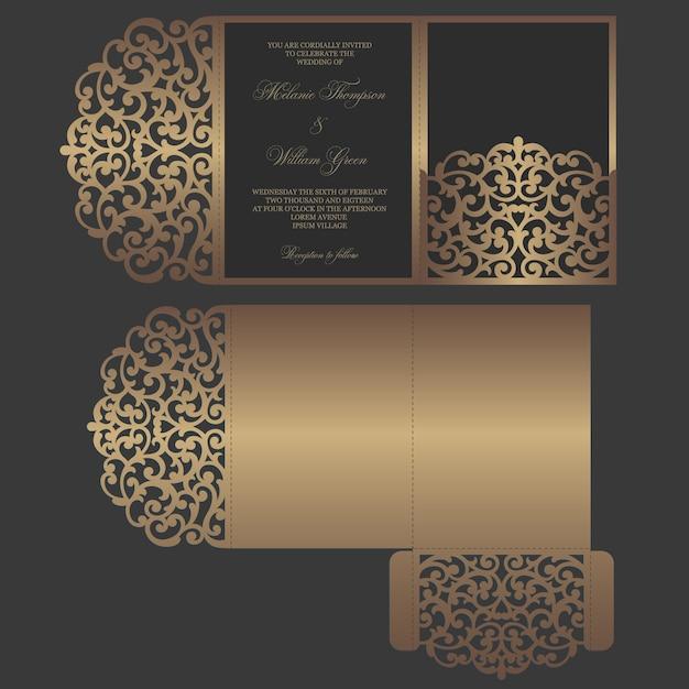 Corte a laser ornamentado modelo dobrável em três partes. projeto de envelope de bolso de convite de casamento. Vetor Premium