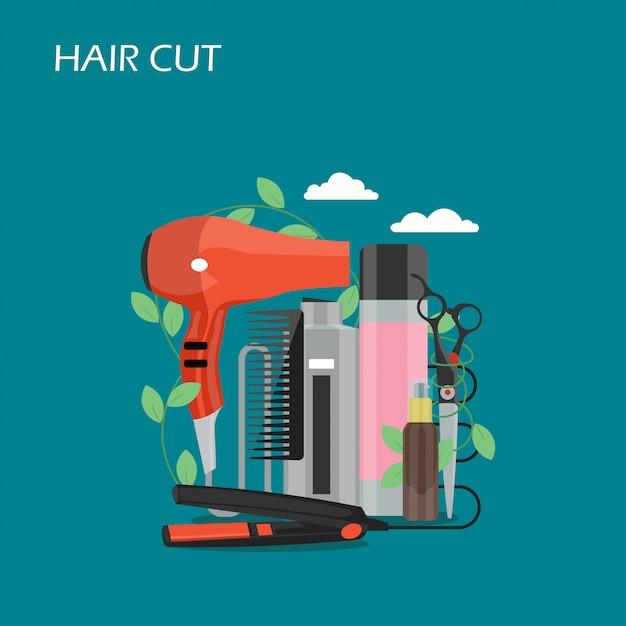 Corte de cabelo estilo simples design ilustração Vetor Premium