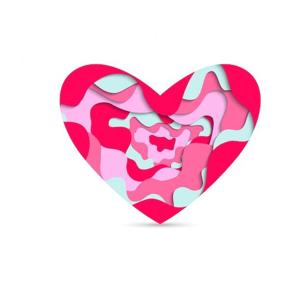 Corte de papel coração Vetor Premium