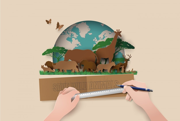 Corte de papel de animais de silhuetas estilo. save animals Vetor Premium
