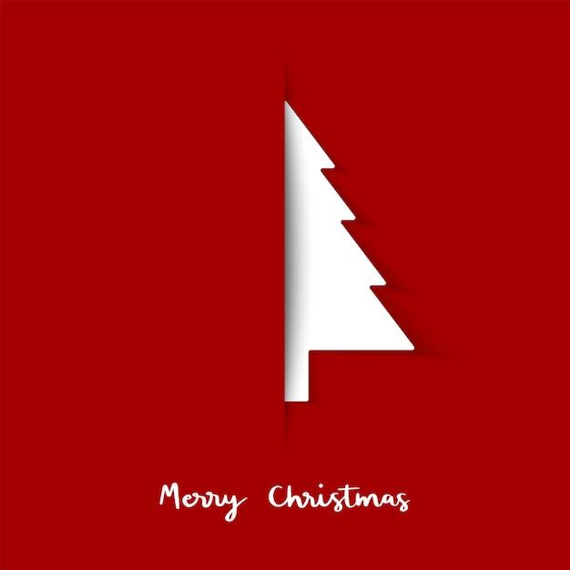 Corte de papel de árvore de natal. cartão mínimo. Vetor Premium