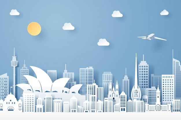 Corte de papel de marco da austrália, viagens e conceito de turismo Vetor Premium