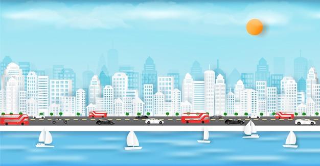 Corte de papel de vetor e na cidade grande, com edifícios e casas. Vetor Premium