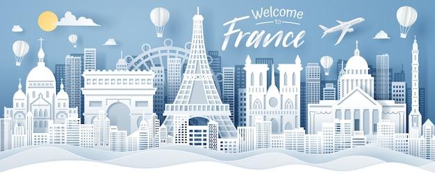 Corte de papel do conceito de marco de frança, viagens e turismo. Vetor Premium