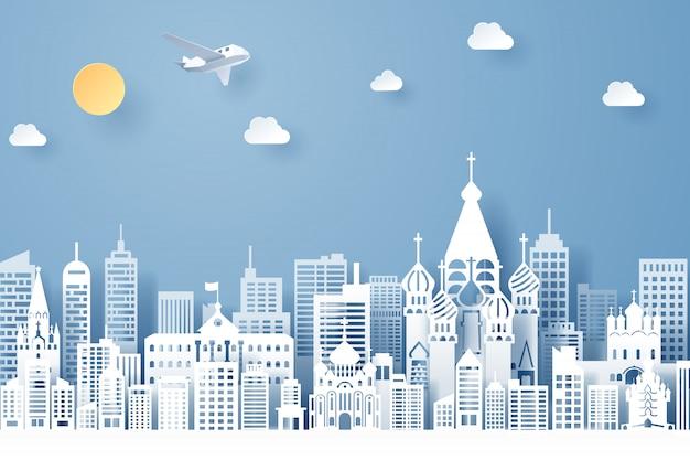 Corte de papel do conceito de marco, viagens e turismo da rússia Vetor Premium