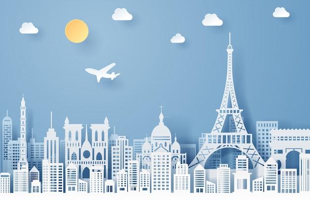 Corte de papel do conceito de marco, viagens e turismo de frança Vetor Premium