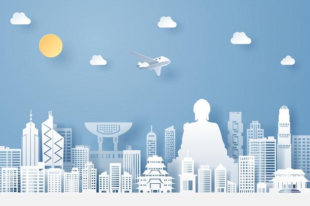 Corte de papel do conceito de marco, viagens e turismo de hong kong Vetor Premium