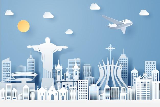 Corte de papel do conceito de marco, viagens e turismo do brasil Vetor Premium