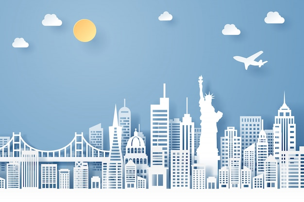 Corte de papel do conceito de marco, viagens e turismo dos eua Vetor Premium