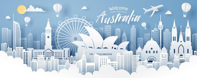 Corte de papel do marco da austrália, viagens e turismo. Vetor Premium