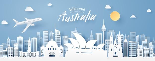 Corte de papel do marco da austrália Vetor Premium
