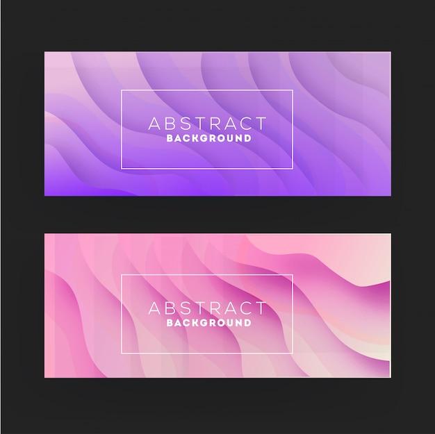 Corte de papel roxo e rosa conjunto abstrato bandeira ondulada Vetor Premium