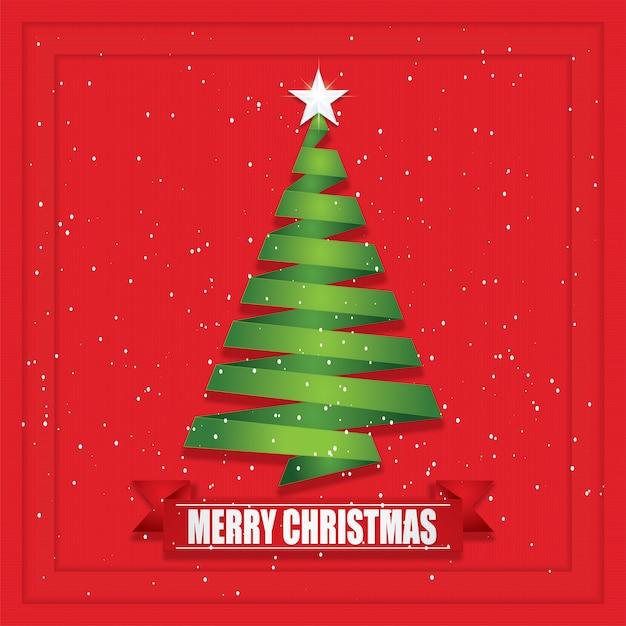 Corte do papel da árvore de natal e estilo do ofício. Vetor Premium
