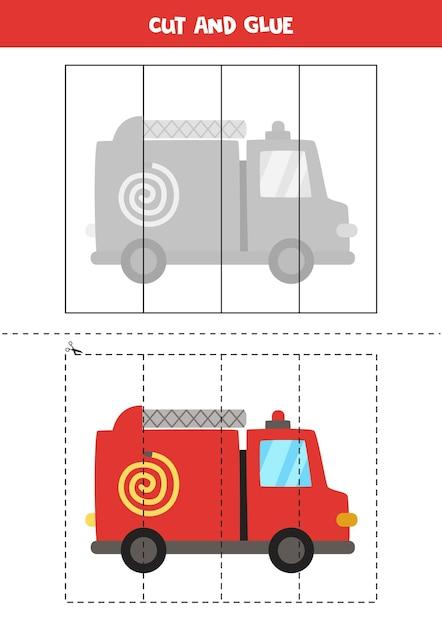 Corte e cole o jogo para crianças com caminhão de bombeiros de desenho animado prática de corte para pré-escolares. Vetor Premium