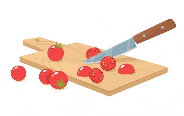 Corte os tomates cereja com uma faca. corte manual e moagem de ingredientes orgânicos. ilustração em estilo simples. Vetor Premium