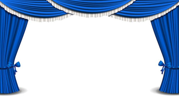 Cortina azul Vetor Premium