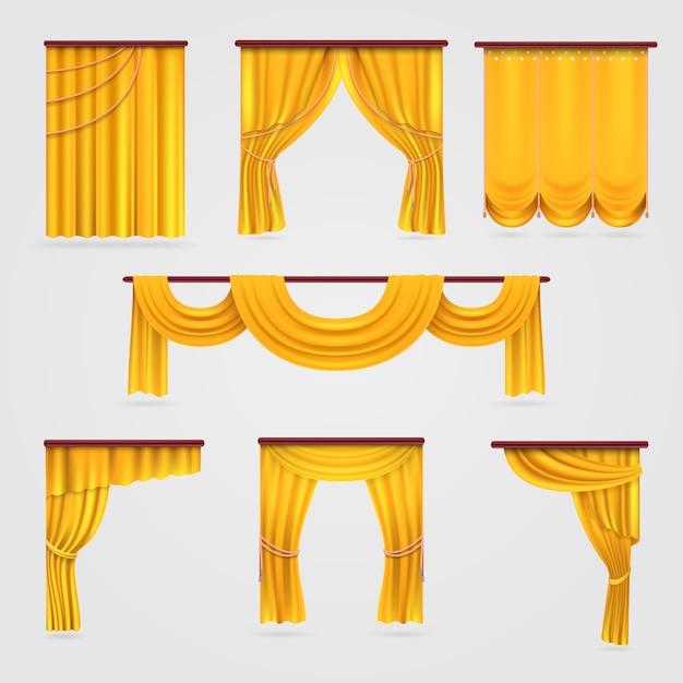 Cortina de cortina de veludo de ouro Vetor Premium