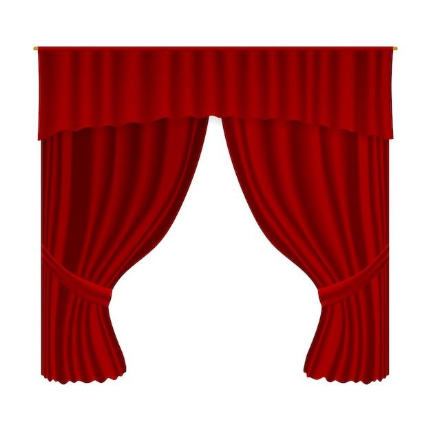 Cortina de teatro. cortina de decoração em tecido de veludo realista. decoração de interiores de palco de teatro com cortina vermelha aberta luxuosa, estreia e cultura Vetor Premium