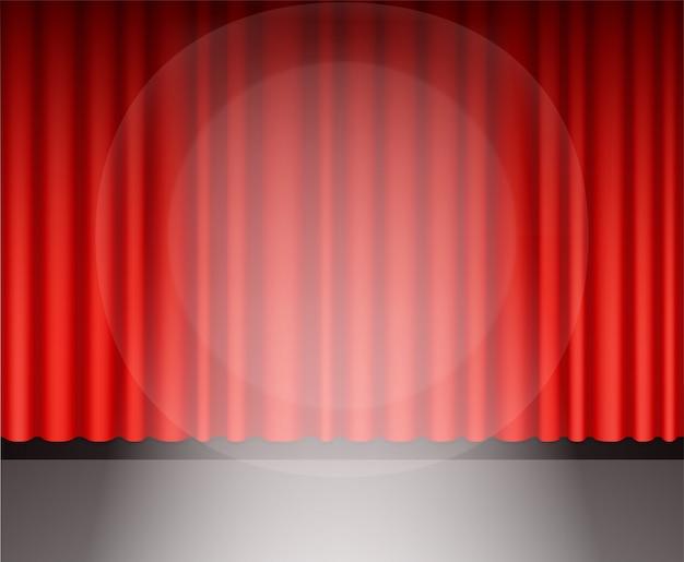 Cortina de teatro vermelho com luz Vetor Premium