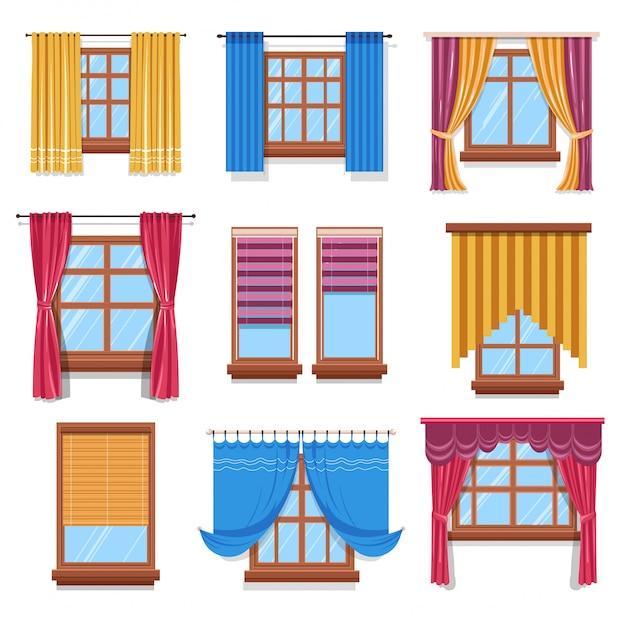 Cortina e persianas em janelas, tecidos e madeira Vetor Premium