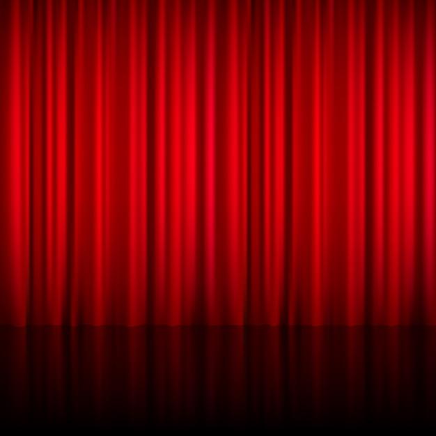 Cortina fechada teatral vermelha realista de material brilhante com reflexão sobre ilustração vetorial de chão de palco Vetor grátis