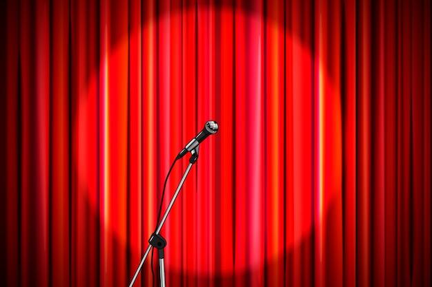 Cortina vermelha com microfone brilhante na iluminação redonda holofotes, fundo retrô de palco de teatro amplo Vetor Premium