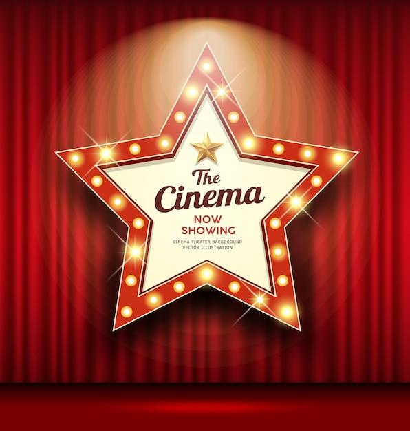 Cortina vermelha em forma de estrela de sinal de teatro cinema acende fundo de design de banner, ilustração Vetor Premium