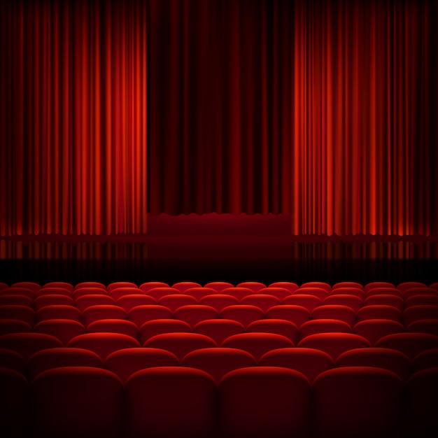Cortinas abertas de teatro vermelho. Vetor Premium