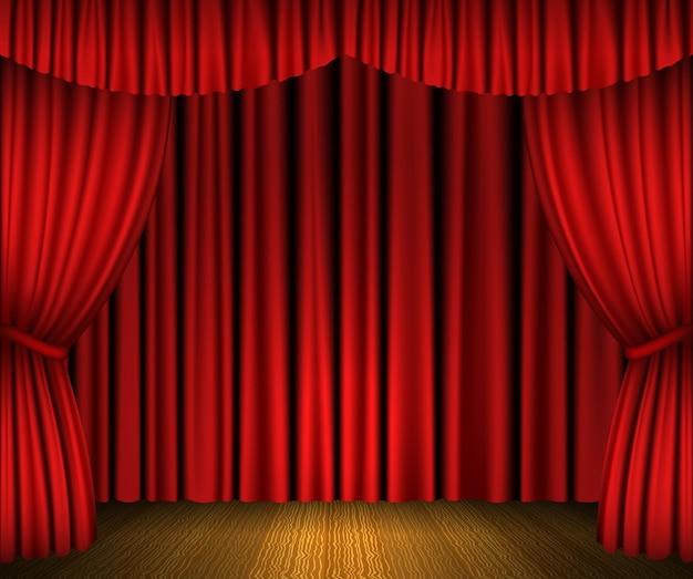 Cortinas abertas vermelhas e palco de madeira Vetor Premium