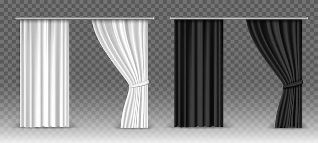 Cortinas brancas e pretas de vetor isoladas em transparente Vetor Premium