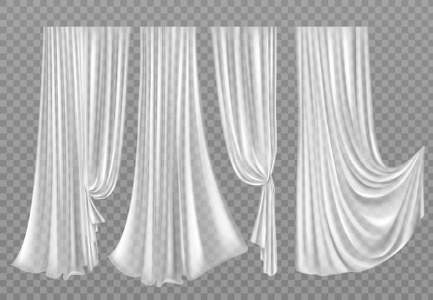 Cortinas brancas isoladas em transparente Vetor grátis