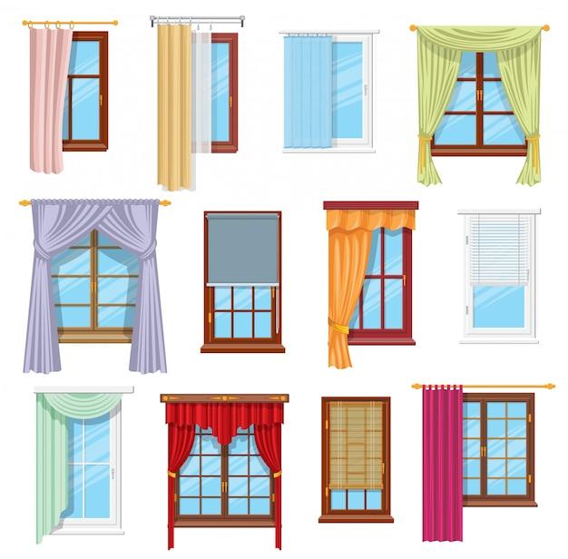 Cortinas, cortinas, persianas. interior da casa Vetor Premium