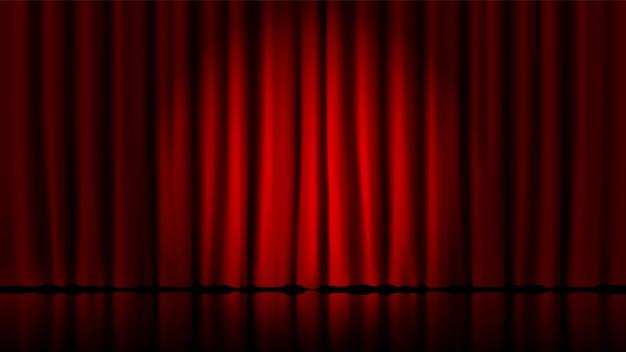 Cortinas de palco iluminadas por holofotes. realista de teatro cortinas dramáticas vermelhas, holofotes na ilustração do modelo de cortinas clássicas teatrais de palco. circo e sala de cinema, cena interior de pé Vetor Premium