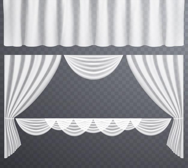 Cortinas transparentes brancas abertas e fechadas Vetor Premium