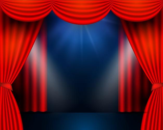 Cortinas vermelhas partem da cena do teatro. fundo de palco, festival e celebração de teatro. luzes brilhantes do palco Vetor Premium