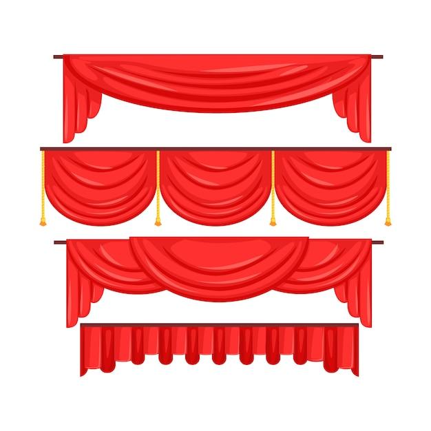 Cortinas vermelhas sanefa para vetor interior de teatro ilustração Vetor Premium