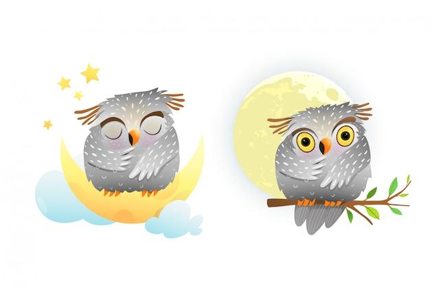 Coruja animal bebê dormindo e olhando para a lua, sentado no galho com estrelas no céu. clipart bonito para crianças pequenas. Vetor Premium
