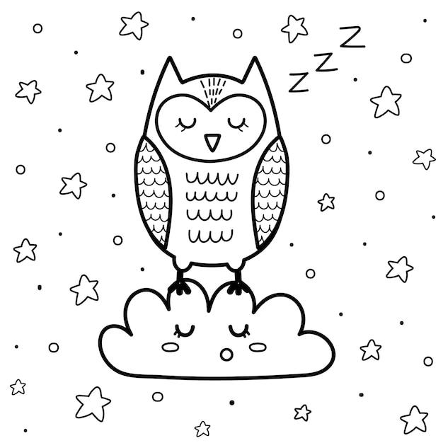 Coruja bonita dormindo na página de colorir nuvem para crianças. livro de colorir com estrelas de boa noite. Vetor Premium