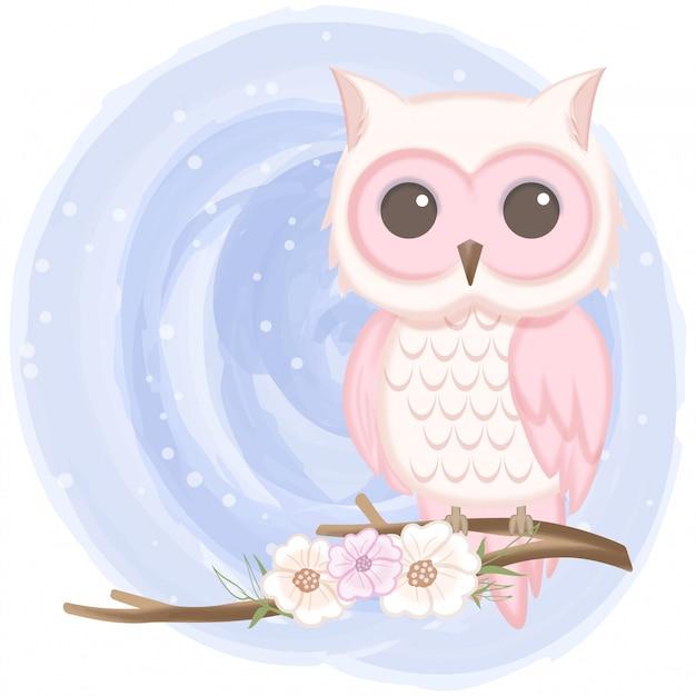Coruja bonita e floral mão ilustrações desenhadas Vetor Premium