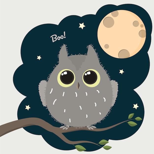 Coruja bonito dos desenhos animados com um cartaz de halloween de lua cheia. Vetor Premium